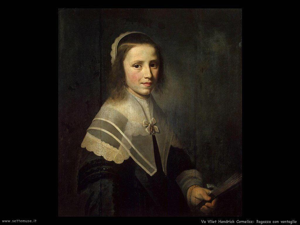 Van Vliet, Hendrick Cornelisz Ragazza con ventaglio
