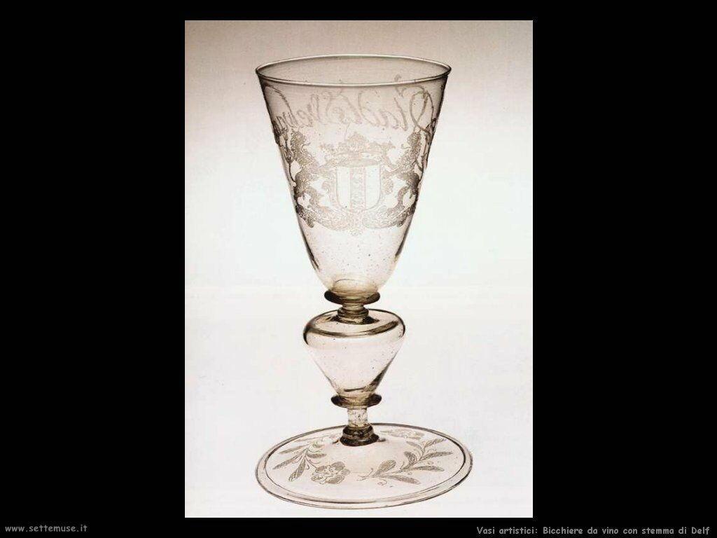 Bicchiere da vino con stemma di Delf