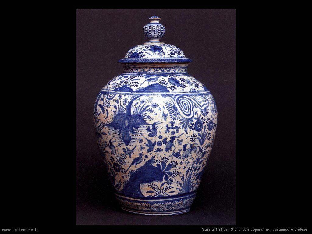 Giara con coperchio, ceramica olandese