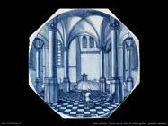 Placca con vista di chiesa gotica (ceramica olandese)