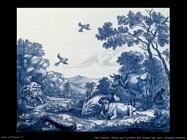Placca con profeta Elia sfamato dai corvi (ceramica olandese)
