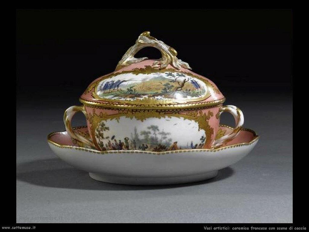 Porcellana di Sevres con scena di caccia