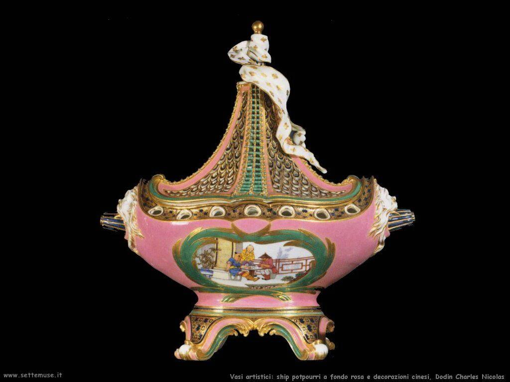 Ship potpourri, con fondo rosa e decorazioni cinesi (Dodin)