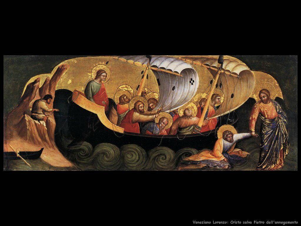 Cristo salva Pietro dall'annegamento Veneziano Lorenzo