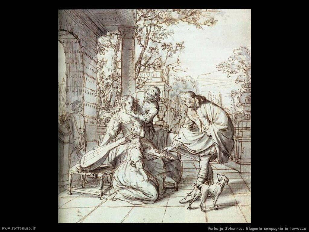 Elegante compagnia sul terrazzo Verkolje Johannes