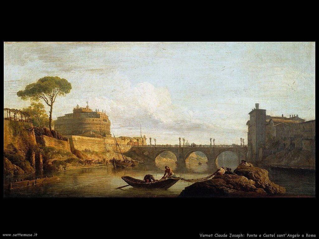 Ponte e Castel Sant'Angelo a Roma Vernet Claude Joseph
