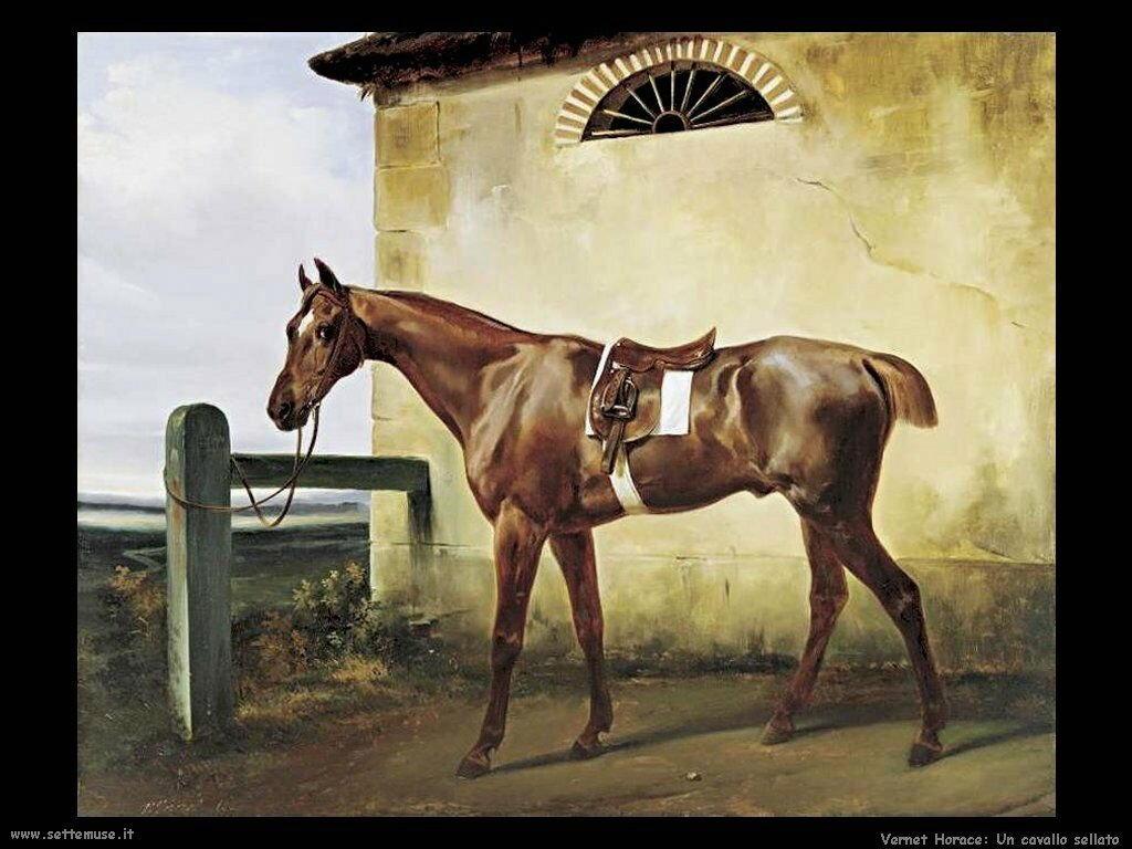 Un cavallo da corsa sellato Vernet Horace