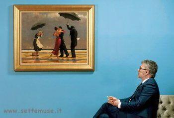 Jack Vettriano  davanti una sua opera