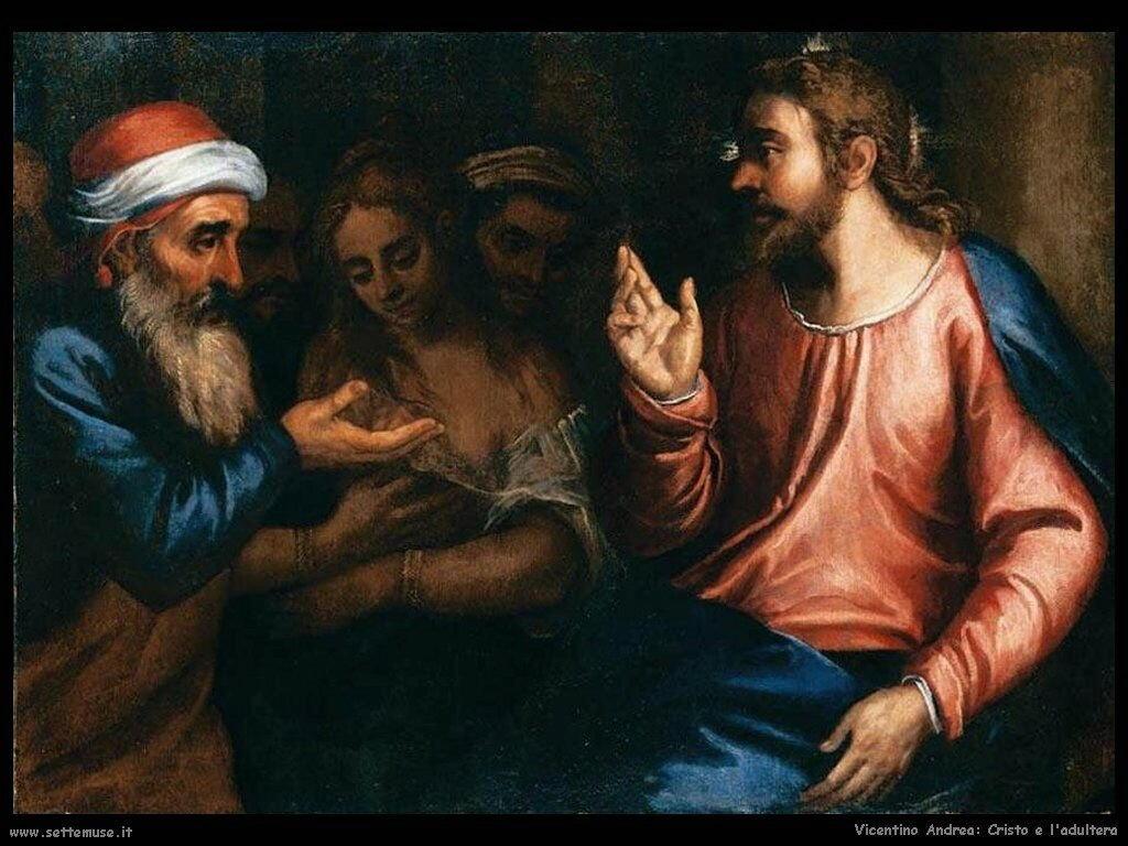Cristo e l'adultera Vicentino Andrea
