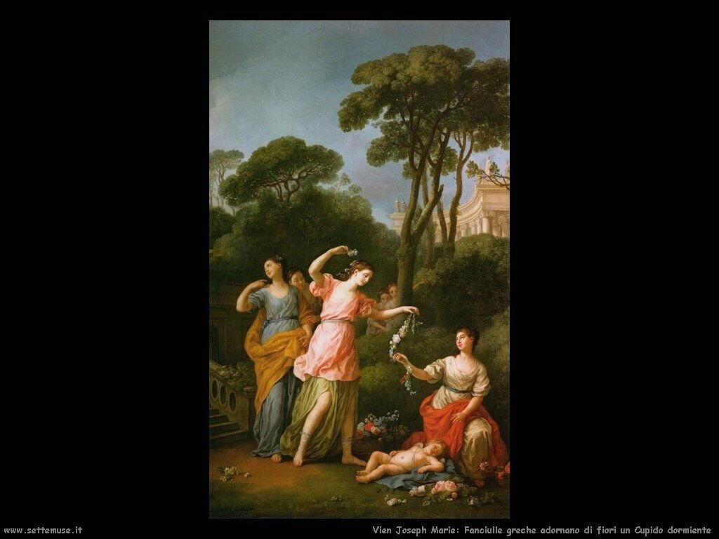 Fanciullo greco adorna un Cupido addormentato Vien Joseph Marie