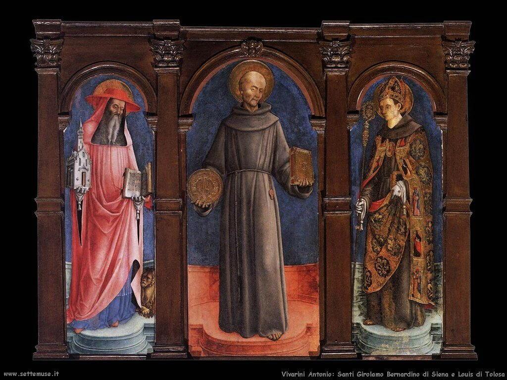 San Gerolamo, Bernardino da Siena e Luigi di Tolosa Vivarini Antonio