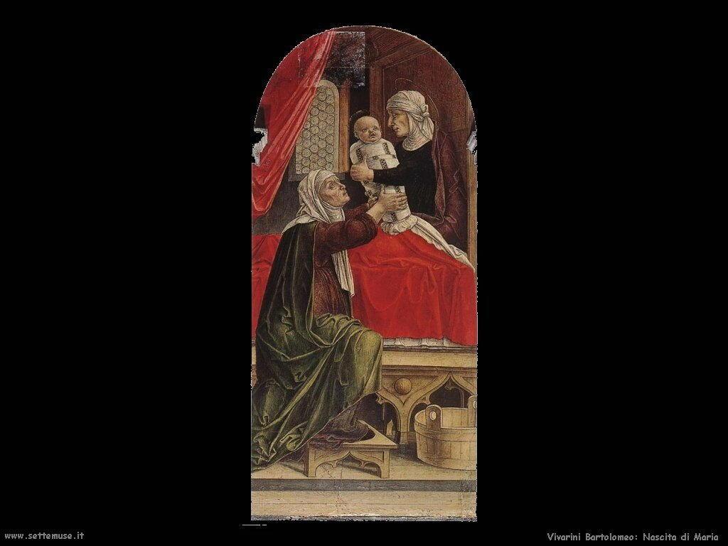 Trittico   ( Particolare nascita di Maria) Vivarini Bartolomeo