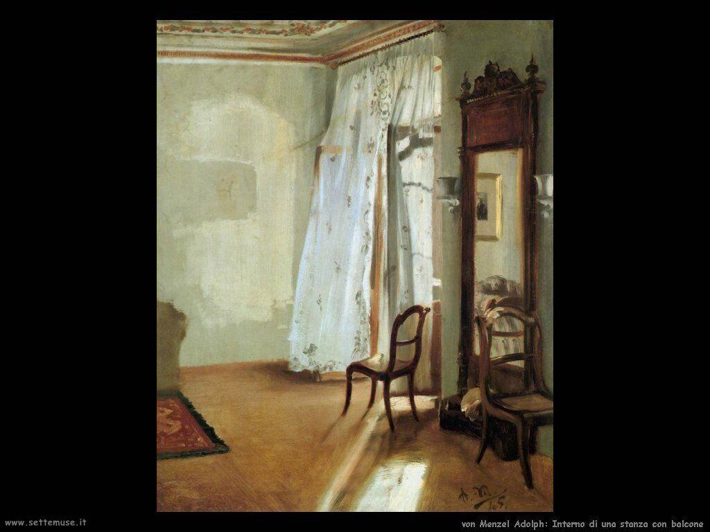 Interno di stanza con balcone Von Menzel Adolph