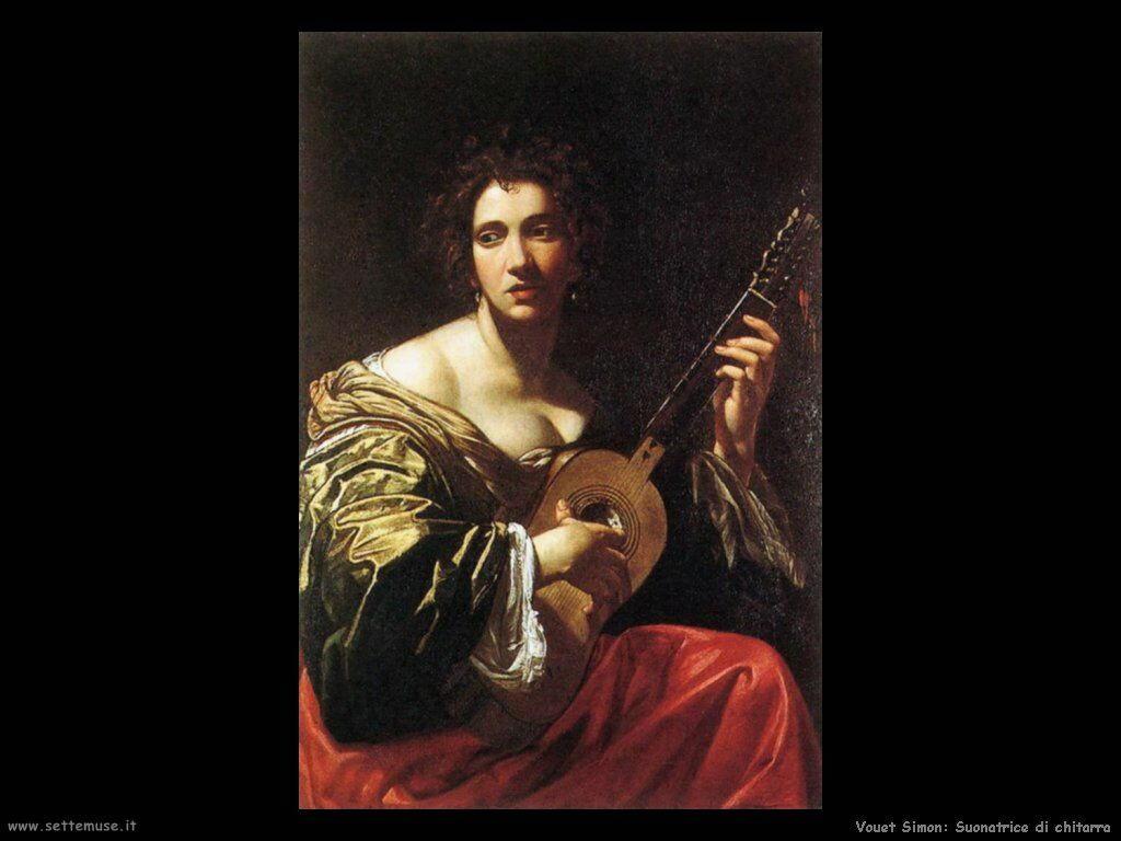 Donna che suona la chitarra Vouet Simon