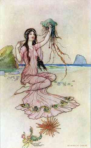 """Illustrazione di Warwick Goble illustratore """"Seaside"""""""
