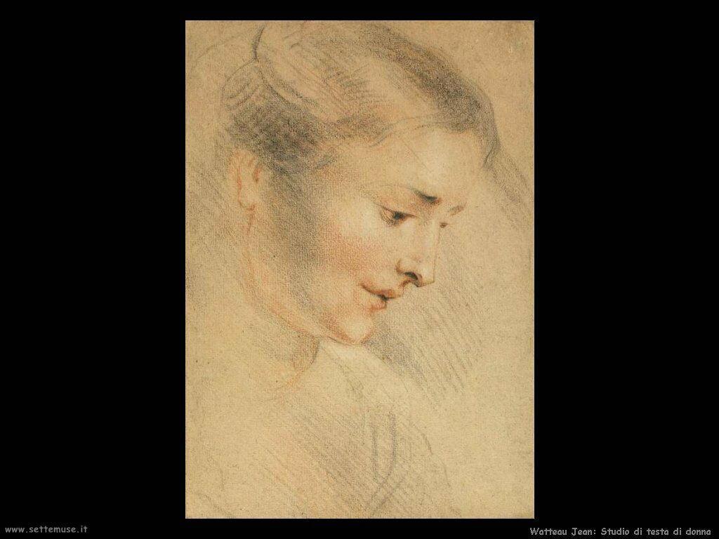 Studio di viso di donna Watteau Jean Antoine