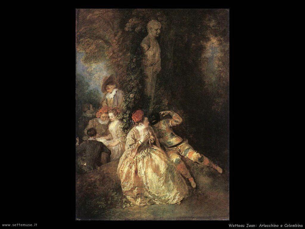 Arlecchino e Colombina Watteau Jean Antoine
