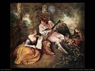Intervallo amoroso nella canzone d'amore Watteau Jean Antoine
