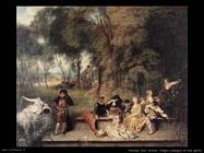 Allegra compagnia all'aperto Watteau Jean Antoine