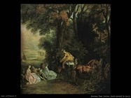 Sosta durante la caccia Watteau Jean Antoine