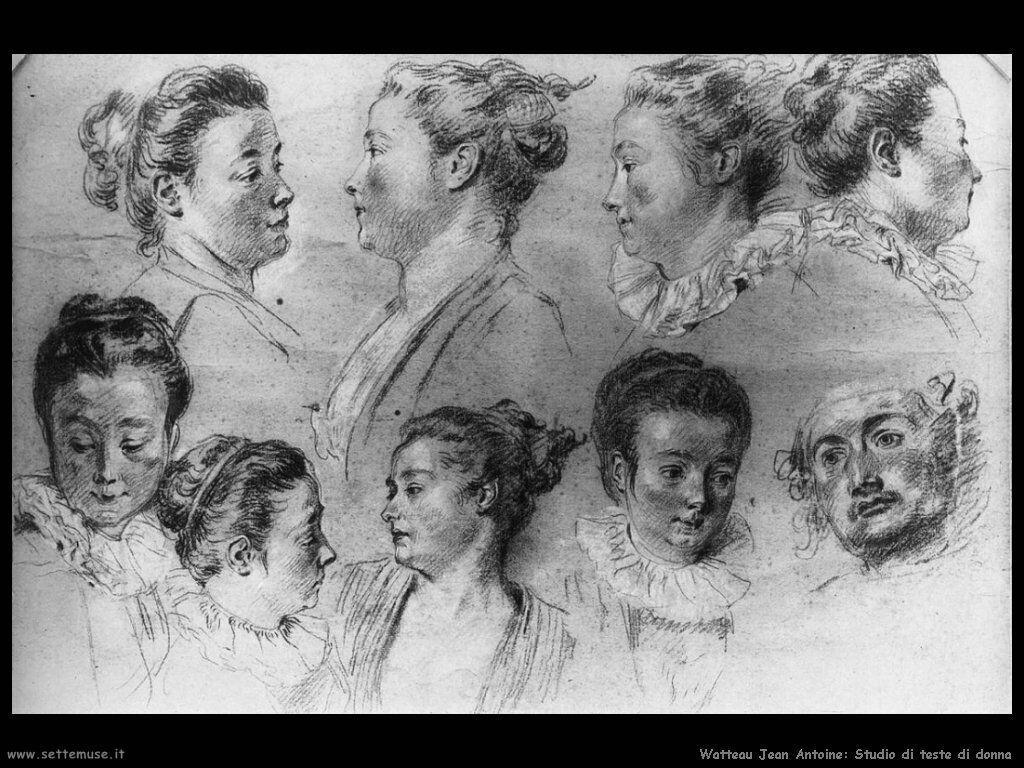 Studio di Teste di Donna Watteau Jean Antoine