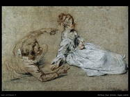 Coppia seduta Watteau Jean Antoine