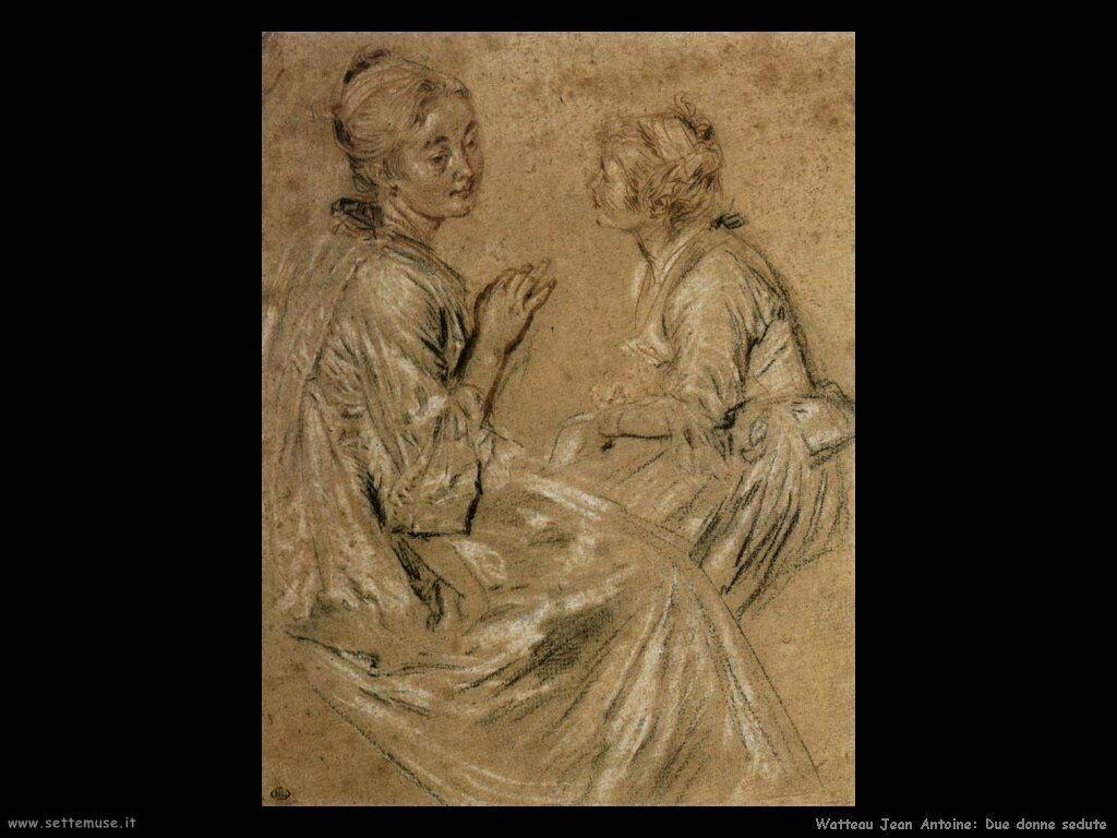 Due donne sedute Watteau Jean Antoine