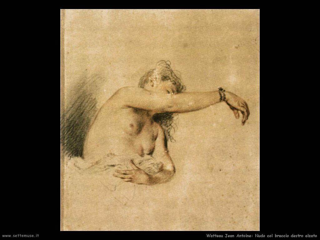 Nudo con braccio destro sollevato Watteau Jean Antoine