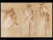 Tre studi di signora con cappello Watteau Jean Antoine
