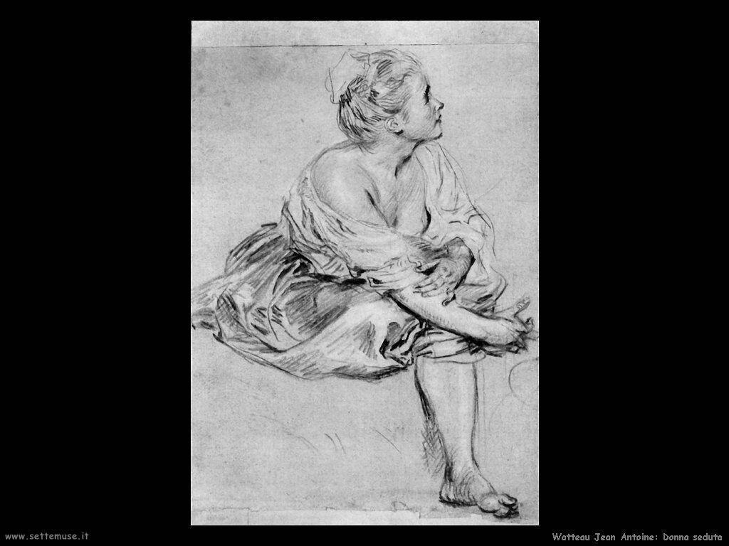 Donna seduta Watteau Jean Antoine