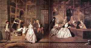 Pittura di Jean Antoine Watteau Enseigne de Gersaint