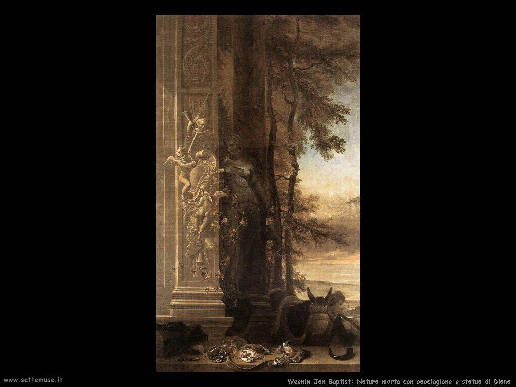 Natura morta con statua di Diana Weenix Jan Baptist