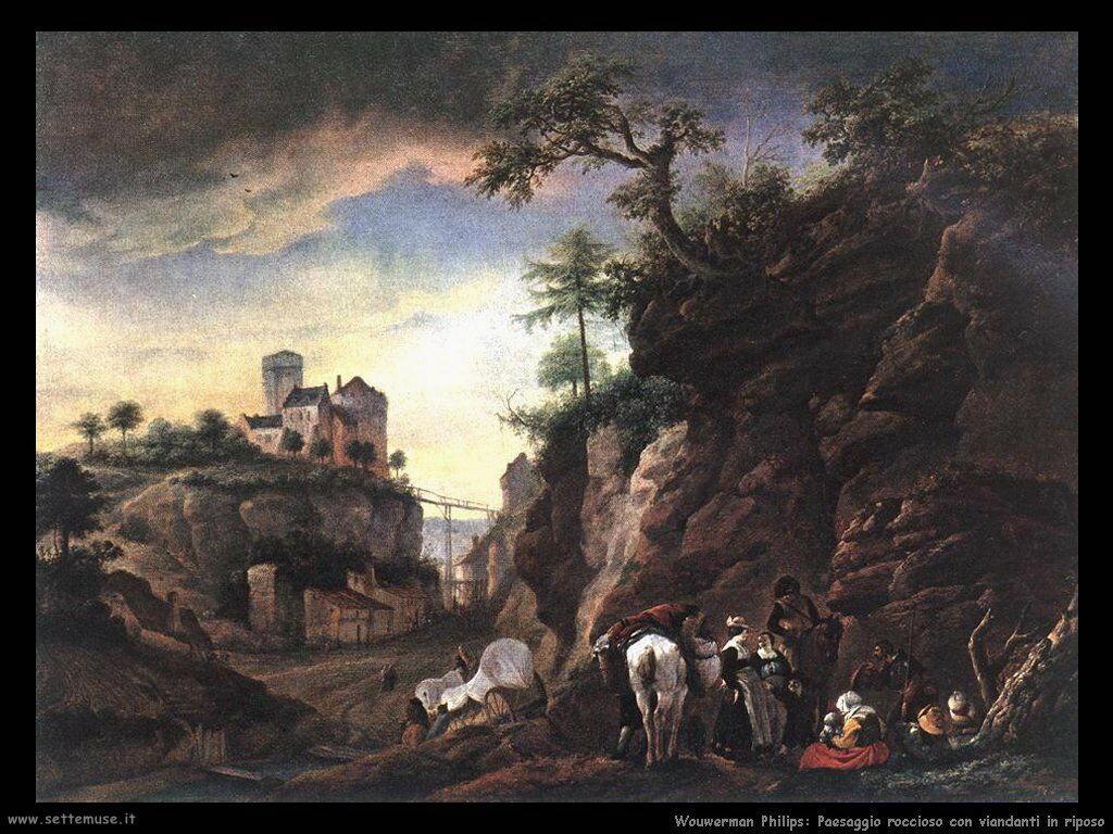 Paesaggio roccioso con viaggiatori che riposano Wouwerman Philips