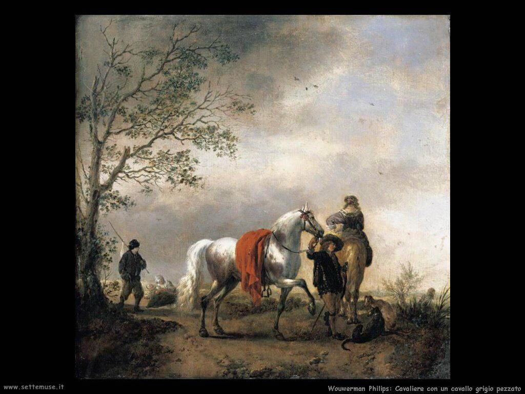 Cavaliere con un cavallo pezzato grigio Wouwerman Philips