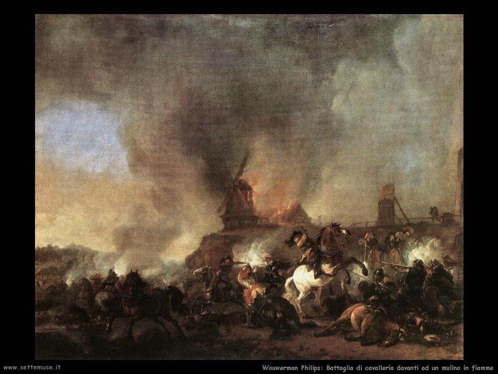 Cavalieri in battaglia davanti ad un mulino in fiamme Wouwerman Philips