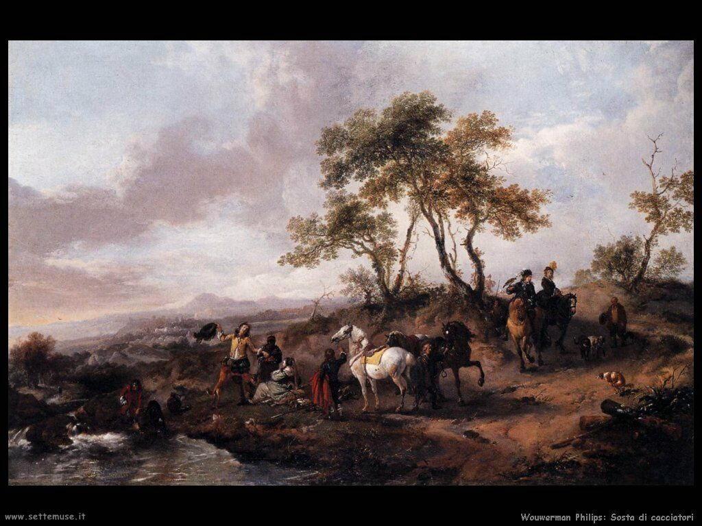 Gruppo di cacciatori in sosta Wouwerman Philips