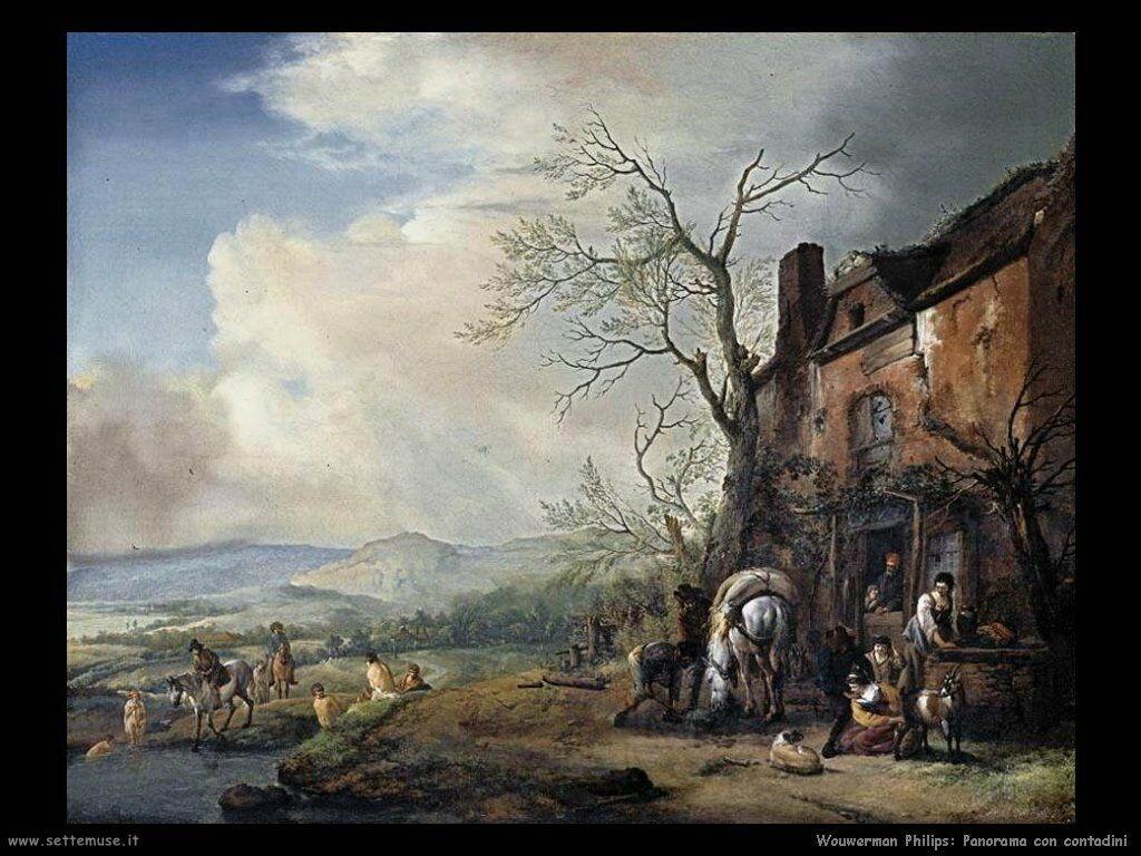 Paesaggio con abitanti di una fattoria Wouwerman Philips