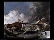 Paesaggio invernale con ponte di legno Wouwerman Philips