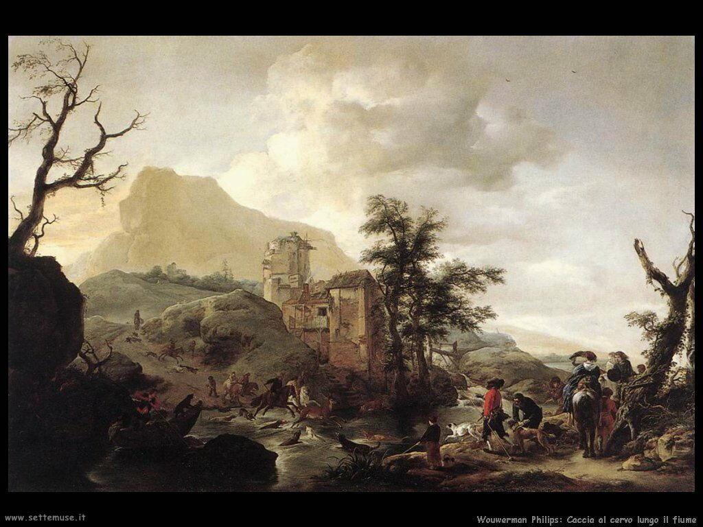 Caccia al cervo in un fiume Wouwerman Philips