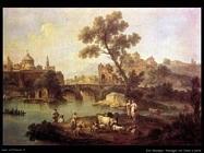 Zais Giuseppe Paesaggio con fiume e ponte
