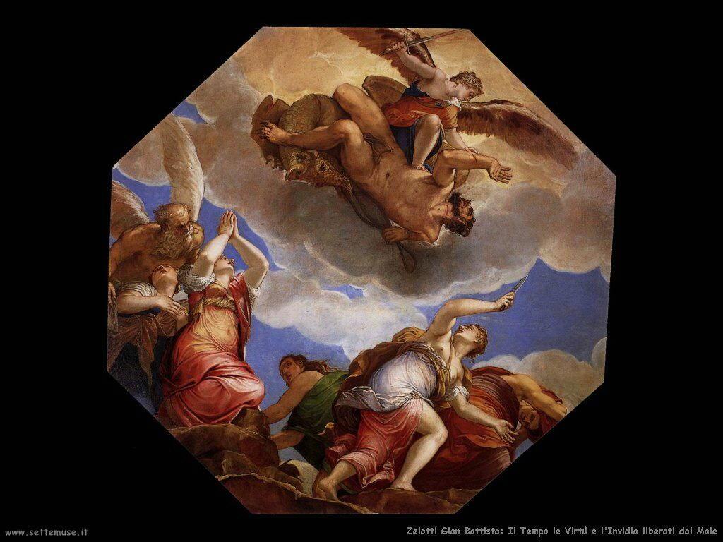 Zelotti Gian Battista Il Tempo le Tirtù e l'Invidia liberati dal Male