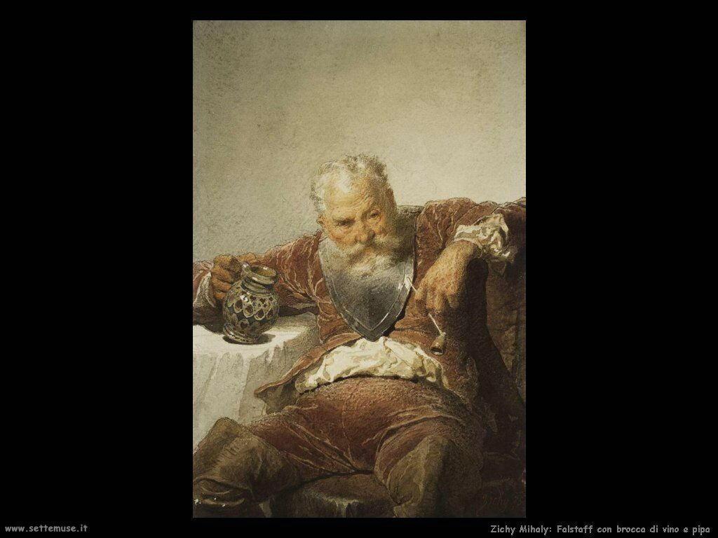 Zichy Mihaly Falstaff con una brocca di vino e la pipa