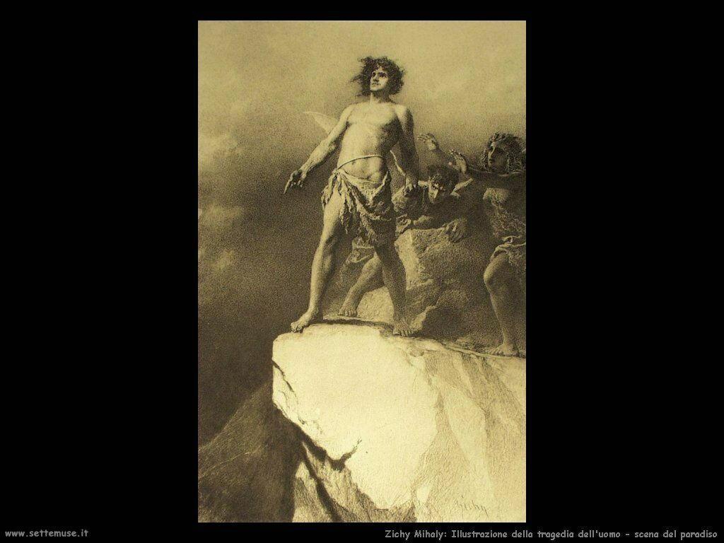 Zichy Mihaly Illustrazione della tragedia dell'uomo in paradiso