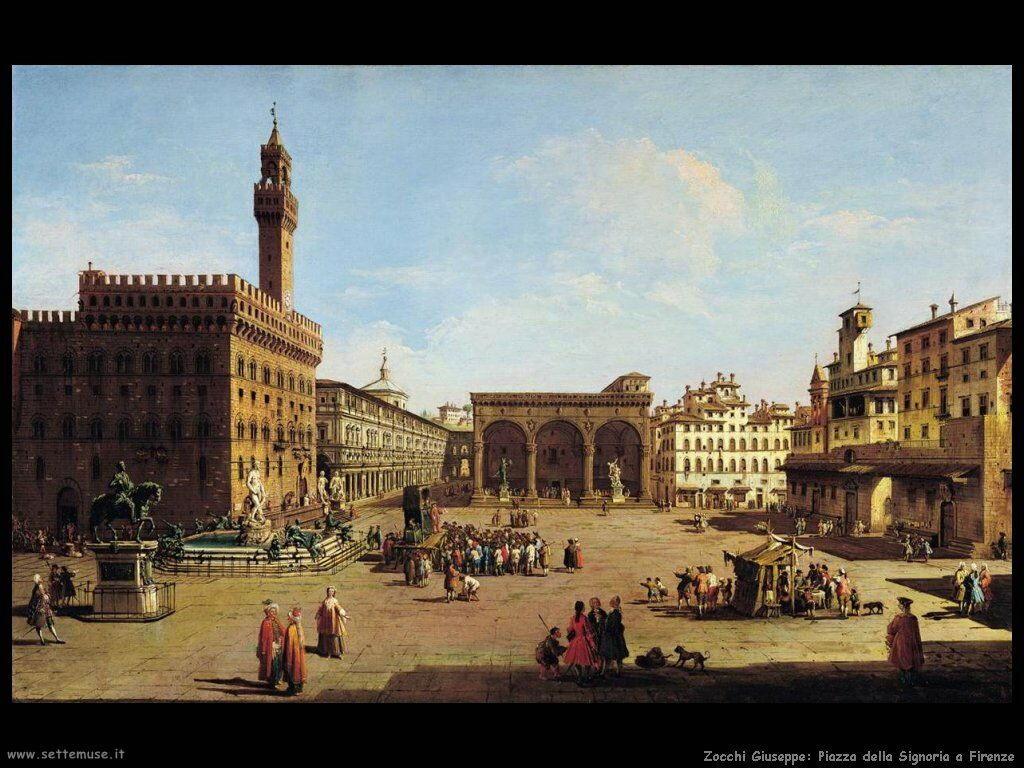 Zocchi Giuseppe Piazza della Signoria a Firenze