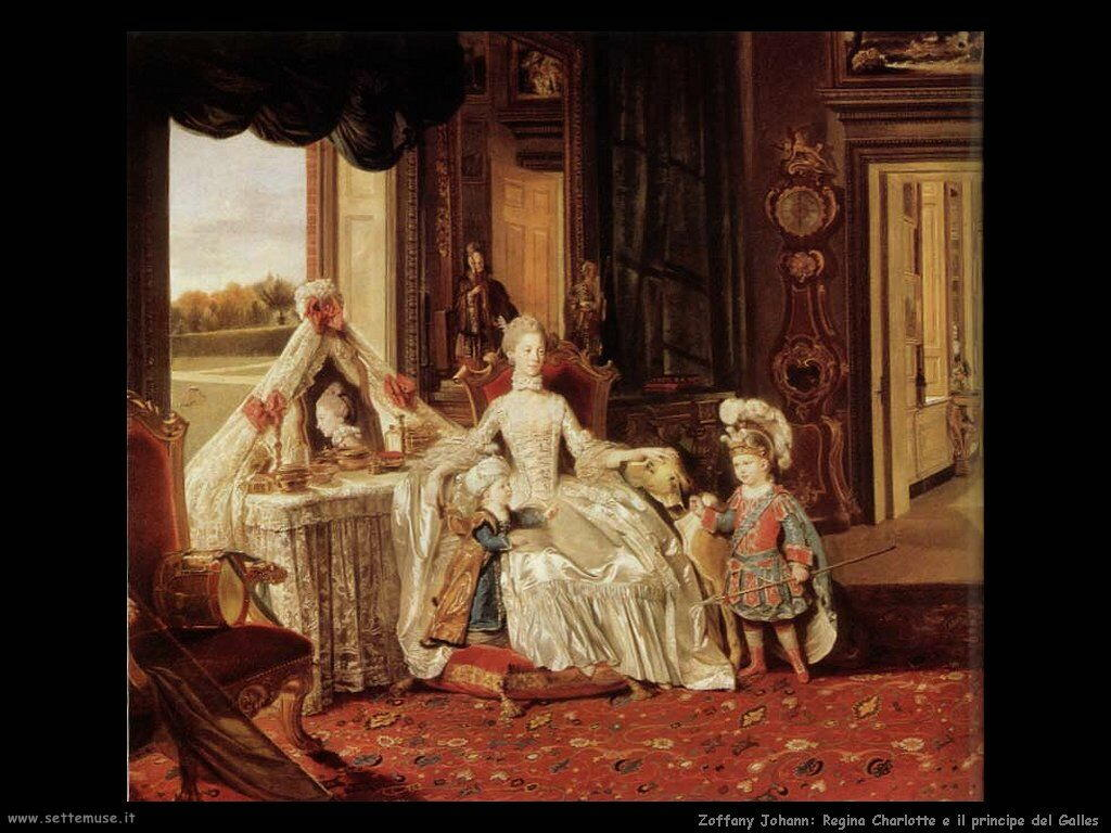 Zoffany Johann Regina Charlotte e il principe del Galles