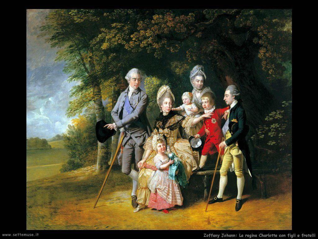 Zoffany Johann Regina Charlotte con figli e fratelli