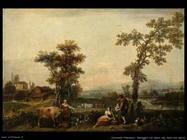 Zuccarelli Francesco Paesaggio con donna che tiene una mucca