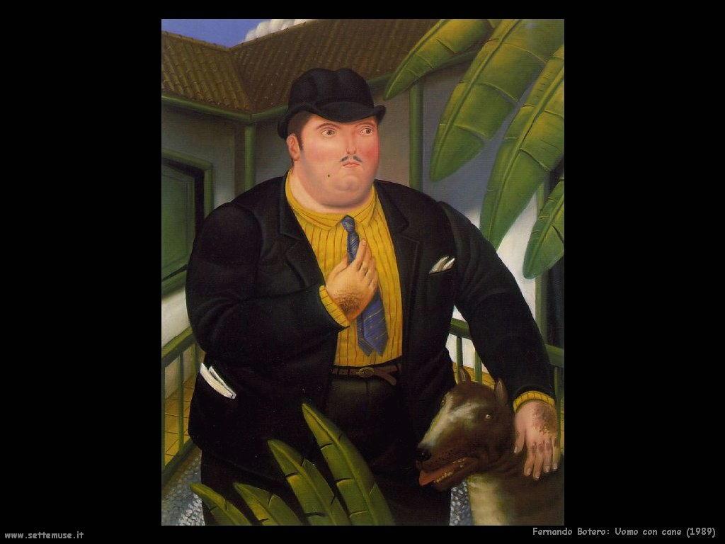 Fernando Botero uomo_con_cane_1989