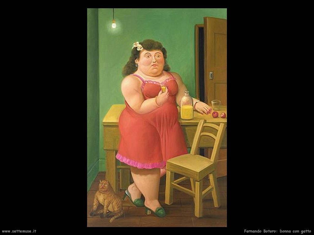Fernando Botero_donna_con_gatto