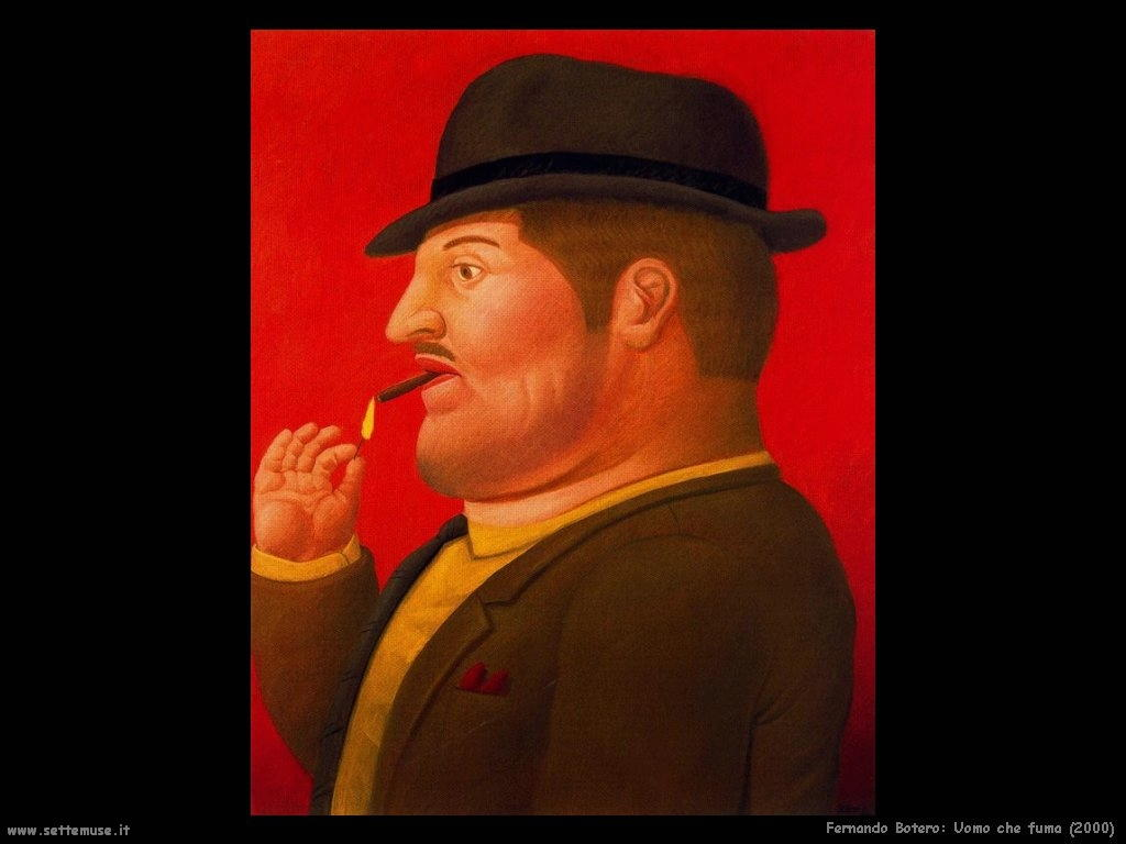 Fernando Botero_uomo_che_fuma_2000